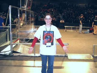 Paige doing field reset at the FIRST Robotics Competition